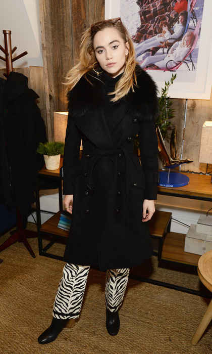 Suki Waterhouse had a wild time discussing her upcoming film <em>Assassination Nation</em> at the Grey Goose Blue Door in zebra pants and a Burberry coat.