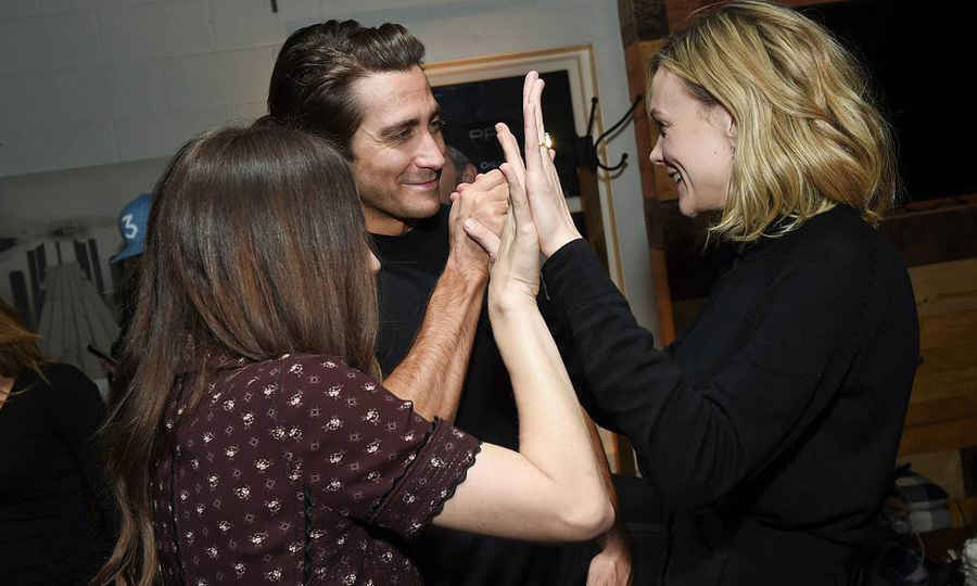 Jake Gyllenhaal and Carey Mulligan gave a triple high-five to the co-writer of their film <em>Wildlife</em>, Zoe Kazan, during the film's after-party at Chase Sapphire on Main.