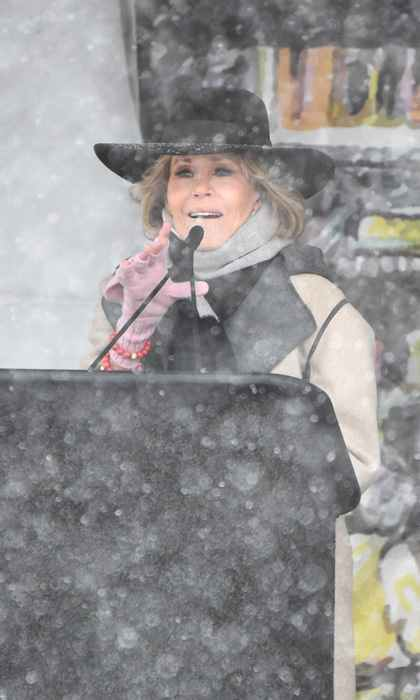 Jane Fonda didn't let the foot of snowfall that blanketed Park City stop her from joining the Respect Rally in Park City during Sundance. The <em>Grace and Frankie</em> star bundled up as she spoke to the crowd including Common and Chloe Grace Moretz.