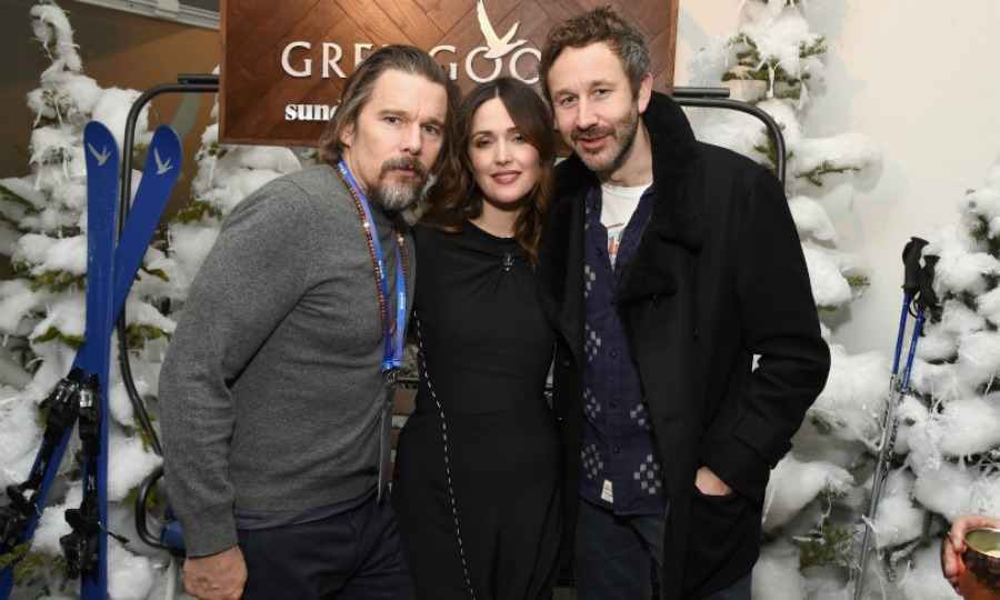 Ethan Hawke joined the duo at night for the <em>Juliet, Naked</em> after-party. Grey Goose sponsored a snowy evening for the cast and creative team of the upcoming film.