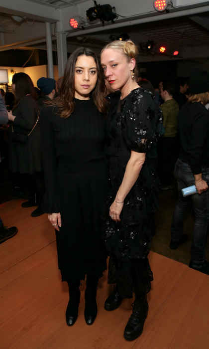 Aubrey Plaza and Chloë Sevigny looked chic, both wearing long flowing black frocks, at the <em>Lizzie</em> cast party in Cafe Artois.
