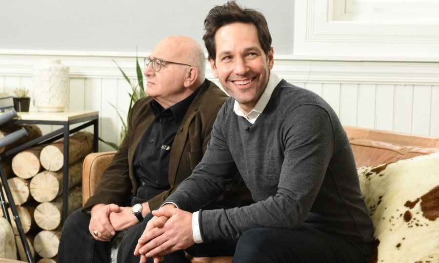 Paul Rudd was all smiles as he talked with his co-star Ben Lewis about their film <em>The Catcher Was A Spy</em>. 