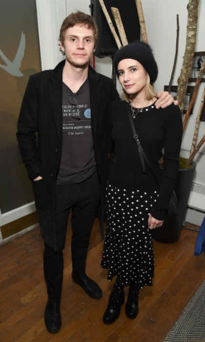 Dressed in sleek black ensembles, longtime couple Evan Peters and Emma Roberts attended the <em>American Animals</em> after-party at the Grey Goose Blue Door during Sundance on January 19.