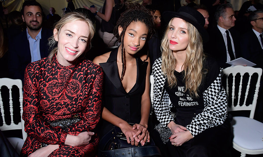 Front-row chic! Emily Blunt, Willow Smith and Annabelle Wallis enjoyed some girl time while waiting for the Dior Haute Couture show to begin. They all looked beautiful, but Willow's futuristic makeup look really stole the show.