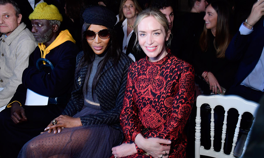 Can you say #GirlSquad? Legendary supermodel Naomi Campbell and actress Emily Blunt looked uber chic while at the Dior show. Emily donned a vibrant long-sleeved gown, while Naomi opted for slick shades, a beret and a mesh skirt.