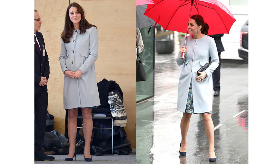 Kate has worn this stunning powder blue Seraphine coat twice during pregnancy. The first time she donned the ensemble was back in 2015 - while she was pregnant with Princess Charlotte - during a visit to the Kensington Leisure Centre.