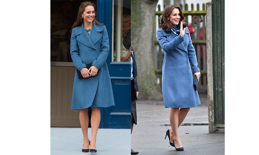 The Duchess stunned in this cornflower blue Sportmax coat twice! While pregnant with Princess Charlotte in 2015, Kate wore the gorgeous number on a visit to the Emma Bridgewater Factory. Now, pregnant with her third child, she wore it on her visit to the Maurice Wohl Clinical Neuroscience Institute at Kings College on Jan. 23, 2018.