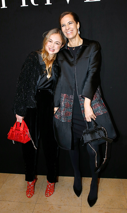 Lady Amelia of Windsor stopped for a photo with the chic Roberta Armani while attending the Armani Privé Haute Couture show in Paris on Jan. 23.