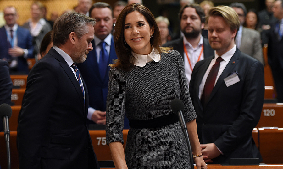 Crown Princess Mary of Denmark stunned in a gorgeous grey business-style dress while delivering a speech at the Parliamentary Assembly of the Council of Europe on Jan. 23.