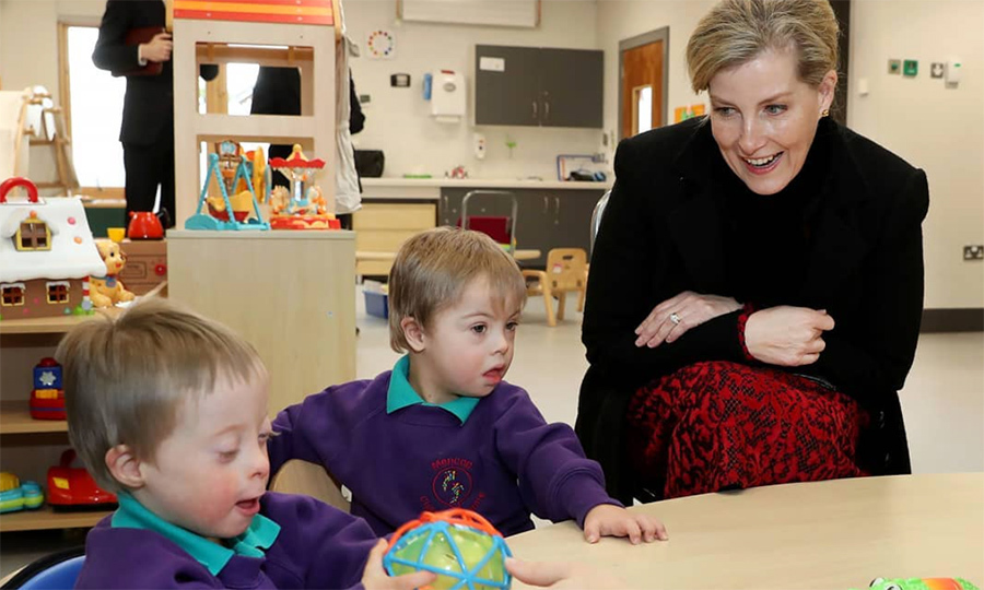 Sophie, Countess of Wessex, enjoyed some playtime with two little boys while visiting the Children Centre in Belfast. Her Royal Highness is a patron of Mencap and met parents who are being supported by the new family support program that the Centre offers.