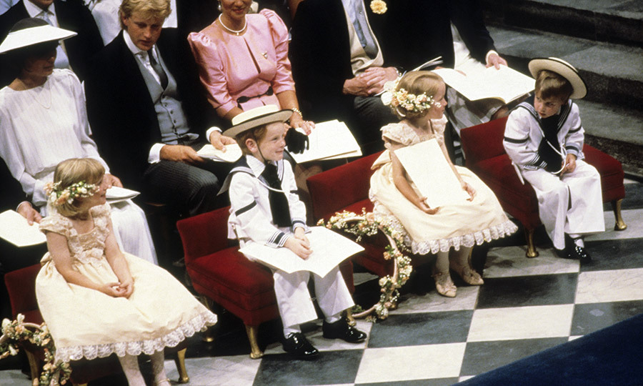 "<p>The wedding attendants – page boys in sailor suits and flat brimmed hats, and flower girls in peach lace dresses with blossoms in their hair – included adorable <a href=""/tags/0/prince-william/""><strong>Prince William</strong></a>, far right, who had just turned four in June. </p>