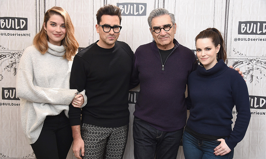 Canada's favourite cast <em>Schitt's Creek</em> made an appearance at NYC's Build Studio to discuss the show! Annie Murphy, Daniel Levy, Eugene Levy and Emily Hampshire all stopped for a group photo.