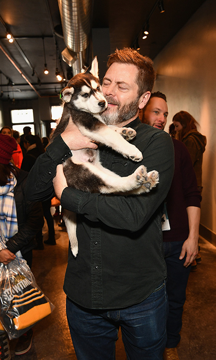 Despite his tough exterior as Ron Swanson on <em>Parks & Recreation</em>, Nick Offerman is really a big softie at heart! The actor cuddled with a husky puppy while at Sundance.
