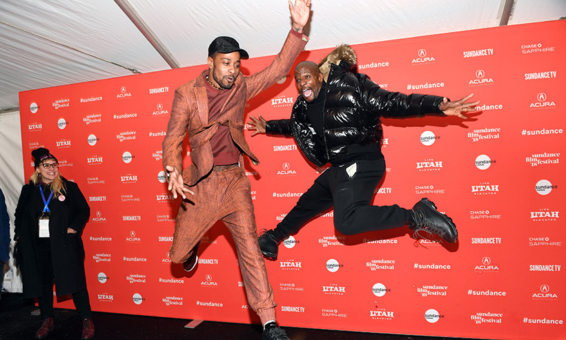 Terry Crews and Lakeith Stanfield were jumping for joy while attending the <em>Sorry to Bother You</em> premiere.