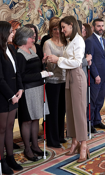Queen Letizia of Spain stunned in a neutral, classic ensemble while attending to meetings at Zarzuela Palace on Jan. 23.