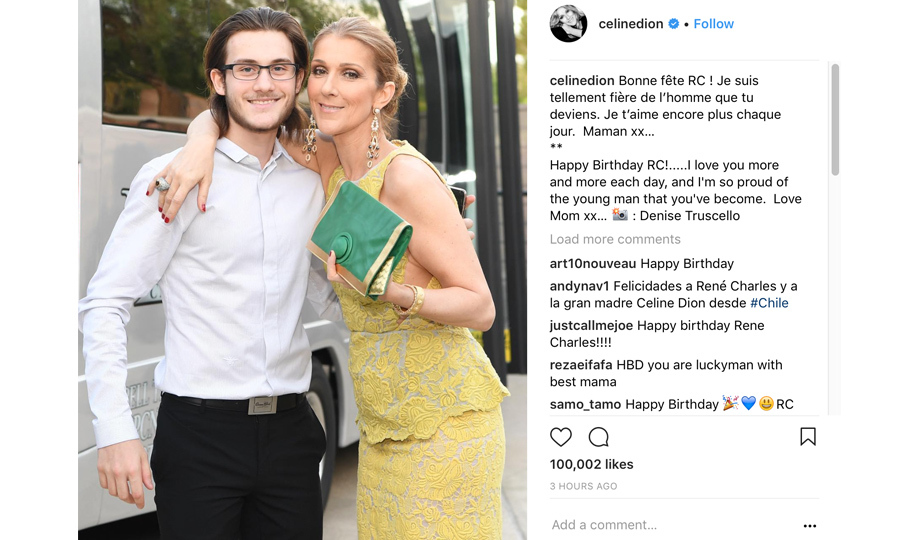 Happy birthday, Rene-Charles! Celine Dion posted a heartfelt message to her eldest son, who just turned 17 on Jan. 25.