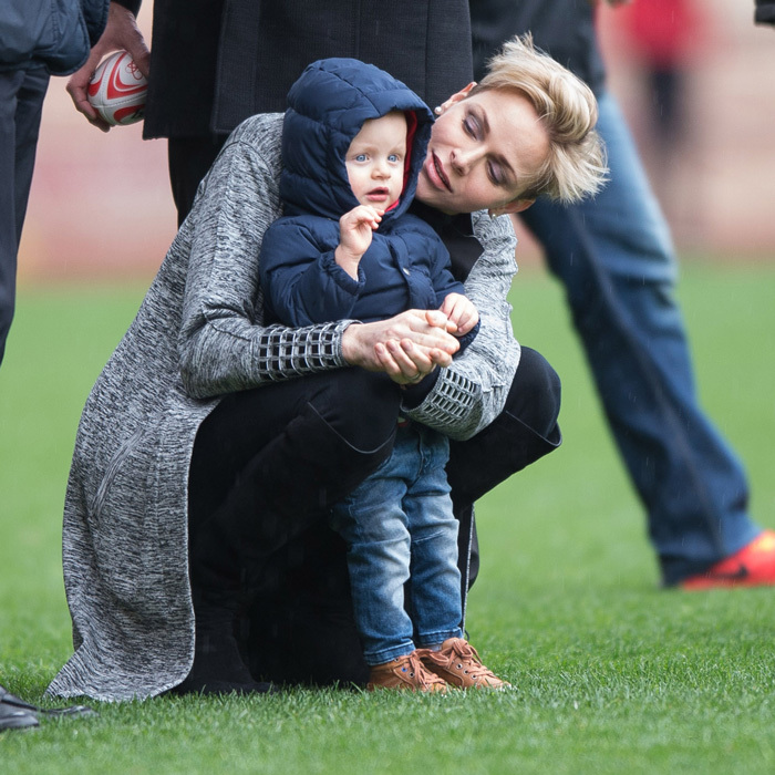 <p>Princess Charlene enjoyed a sporty outing with her little boy, attending the 6th Sainte Devote Rugby Tournament held at Stade Louis II in 2016.</p>