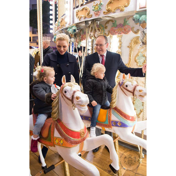 <p>Prince Albert and Princess Charlene got into the holiday spirit visiting Monaco's Christmas village with their young children in 2016.</p>