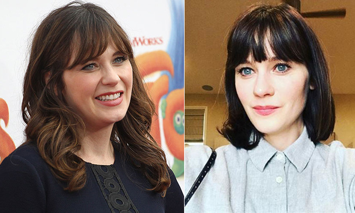 "Zooey Deschanel debuted a bold bob and gave credit to her celebrity hairstylist on Instagram. ""Meant to post this weeks ago: thanks @mararoszak for my big time haircut""