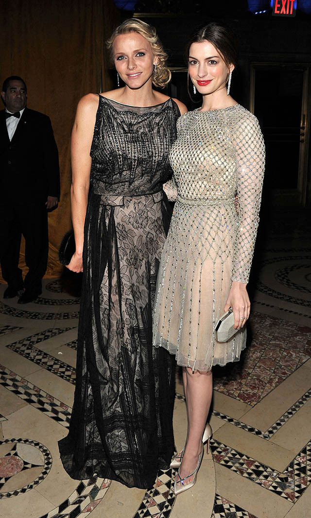 <p>November 2011: Princess of Monaco, meet the Princess of Genovia (a.k.a. 'The Princess Diaries' star Anne Hathaway)! Charlene and Anne each looked stunning with the real-life Princess sporting lace and the actress wearing a glitzy cocktail dress.</p>
