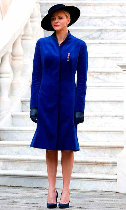 <p>November 2017: Leading Monaco's National Day celebrations with Prince Albert, Princess Charlene embraced the velvet trend in a sleek royal blue coat.</p>