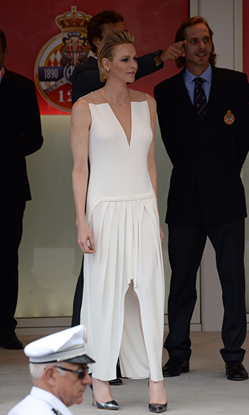 <p>May 2015: Two weeks after baptizing twins Prince Jacques and Princess Gabriella, new mom Charlene chose an edgy look by Akris for the Formula One race in Monaco. </p>