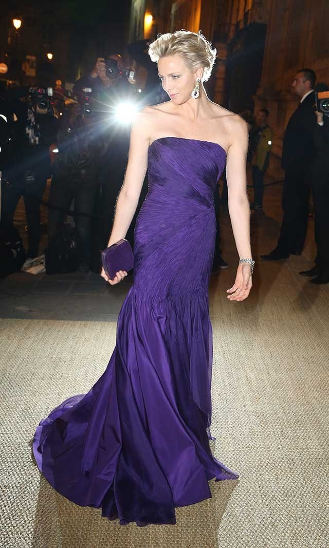 <p>October 2013: Stealing the show in a Princess Diana-inspired indigo dress and matching lilac diamond earrings at the Ralph Lauren Collection private dinner. </p>