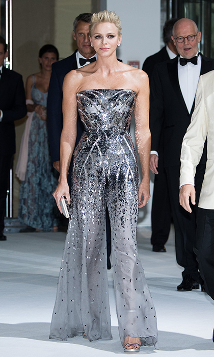 <p>July 2017: The royal sparkled in a silver stapless jumpsuit at the 69th Monaco Red Cross Ball Gala at Sporting Monte-Carlo.</p>
