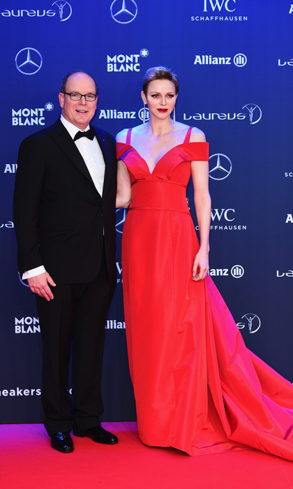 <p>February 2017: The Princess exuded Valentine's Day romance, wearing a plunging red, off the shoulder dress by Carolina Hererra, which she paired with a bold red lip, dazzling drop earrings and silver Jimmy Choo pumps to the 2017 Laureus World Sports Awards in Monaco.</p>