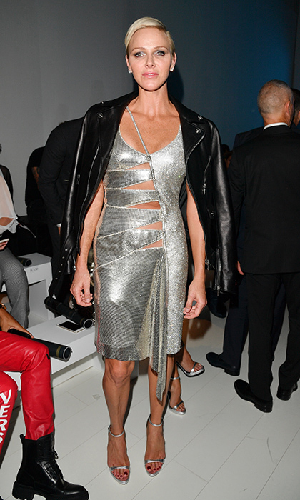 <p>September 2017: The Princess wore one of her most glam looks ever – a silver cut-out Versace cocktail dress – to the Italian fashion house's Spring/Summer 2018 show at Milan Fashion Week. </p>