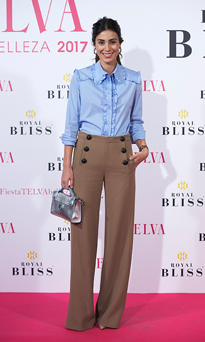 For the Telva Beauty Awards in 2017, the stylish royal slipped into a chic pair of brown slacks with a pretty ruffled blue shirt. 