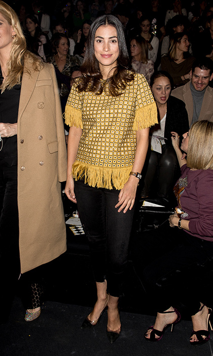 Alessandra was a ray of sunshine at the Jorge Vazquez show in early 2017, where she paired a fringed golden top with black leggings.