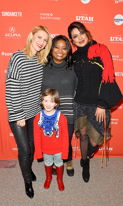#SquadGoals! Iconic actresses Claire Danes, Octavia Spencer and Priyanka Chopra were all smiles with little Leo James Davis at the <em>A Kid Like Jake</em> premiere.