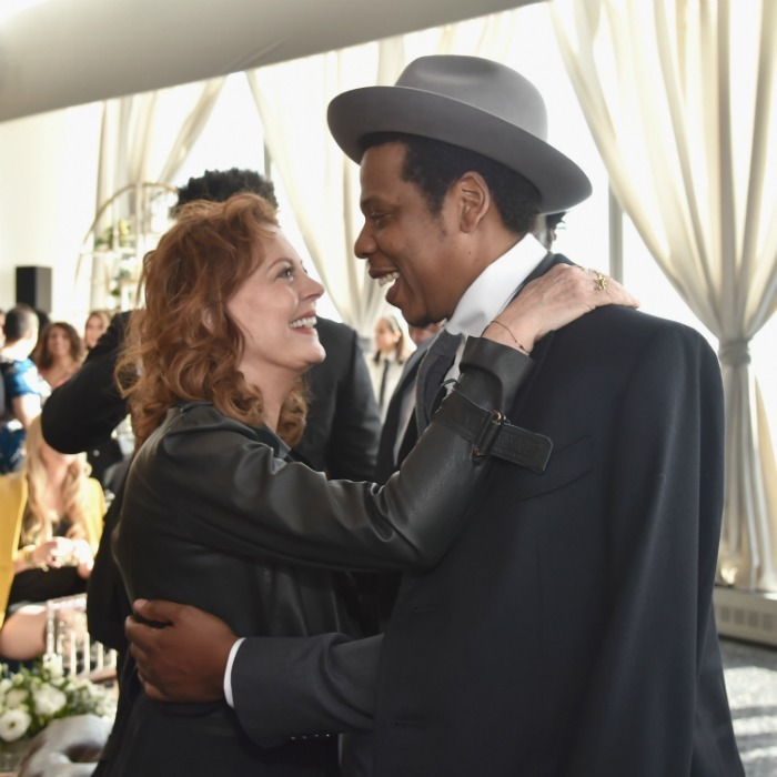 Susan Sarandon and Jay Z shared a sweet moment at the Roc Nation brunch in New York.