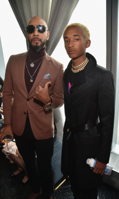 This guy! Swizz Beatz gave Jaden Smith, whose label MSFTS Music collaborates with Roc Nation, the thumb's up at the star-studded brunch event in NYC. The producer was clad in a brown ensemble while Will Smith's son opted for a monogrammed black LV coat and two chunky gold chokers. 