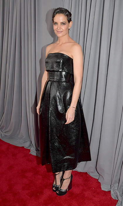 <p>Katie Holmes in Zac Posen</p>