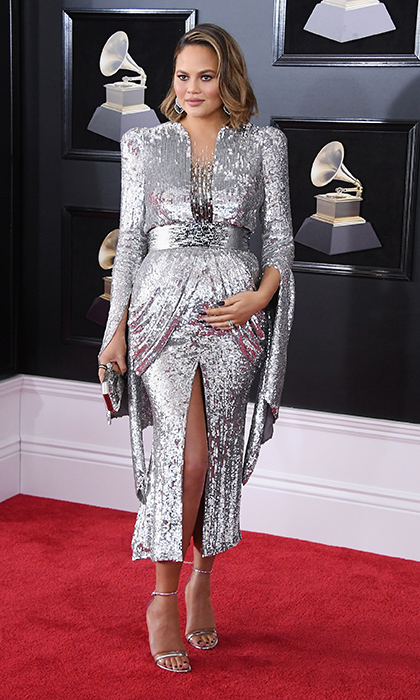 <p>Chrissy Teigen in Yanina Couture</p>