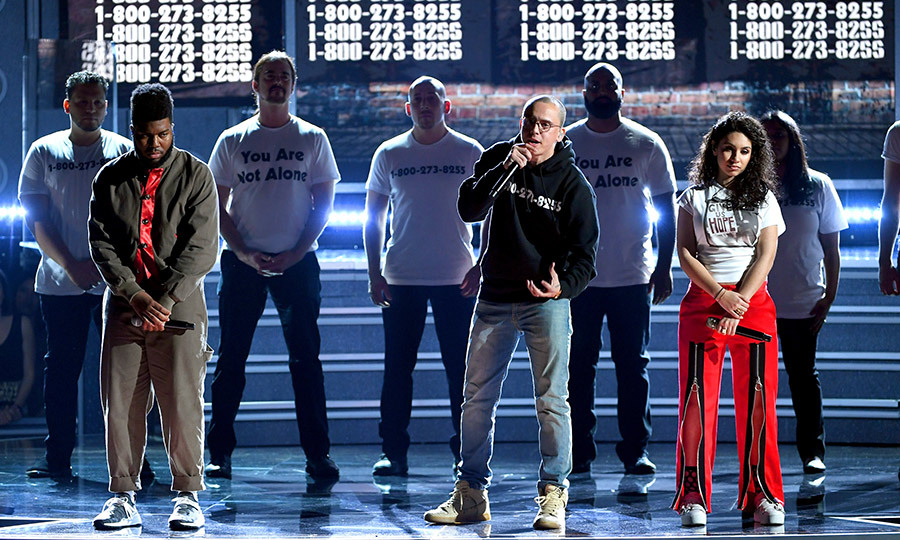 "<h4>Khalid, Logic and Alessia Cara's performance of ""1-800-273-8255""</h4>