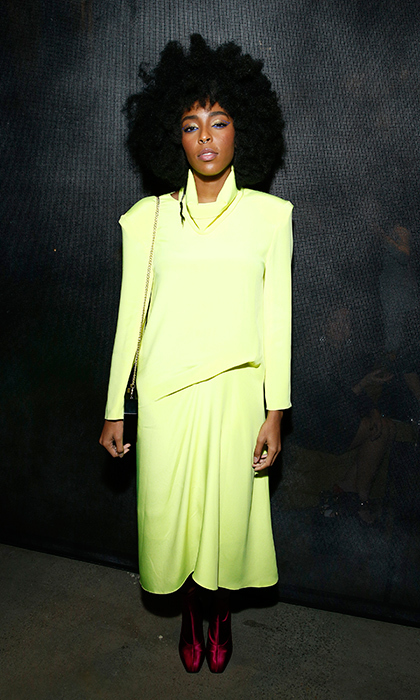 Actor Jessica Williams rocked one of the coolest outfits of the after party scene, by far! She paired a vibrant green dress with magenta heels.