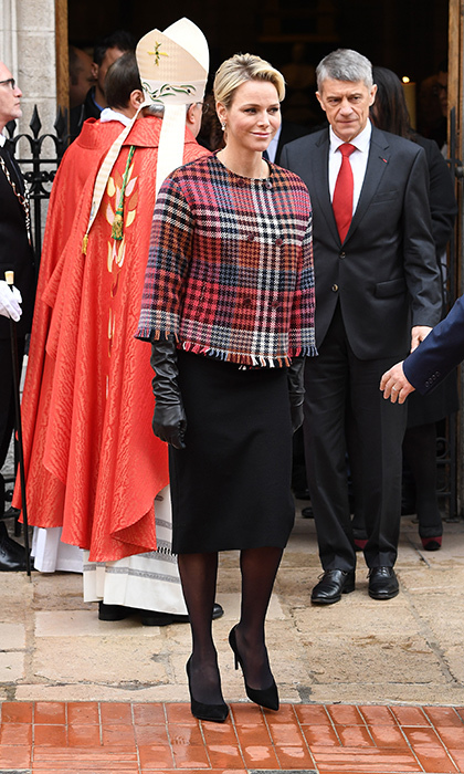 Ever the fashion icon, Princess Charlene stunned in a tartan cropped blazer and a simple black pencil skirt during the celebration of the Sainte-Devote on Jan. 27.