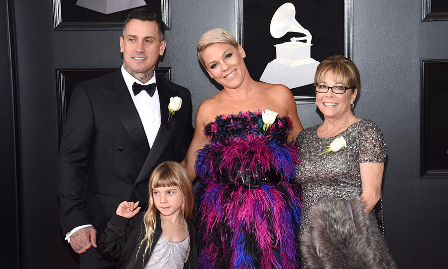 <p>Carey Hart, Willow Sage Hart, Pink and Judith Moore</p>