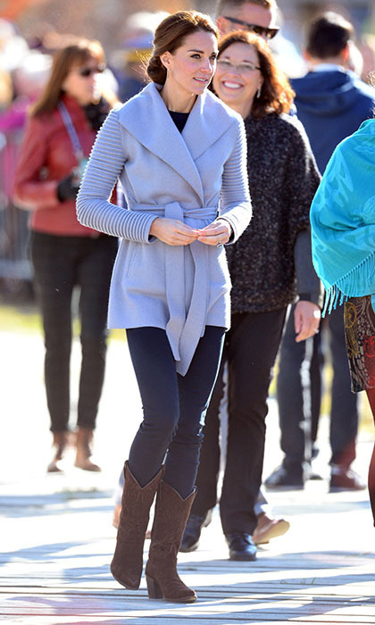 Kate turned to Canadian label Sentaler to keep her warm in Whitehorse. The company's owner and designer Bojana Sentaler tells <em>Hello!</em> that the duchess's stylist reached out to her before the tour to source pieces for Kate's wardrobe. Kate paired the Ribbed Sleeve Wrap Coat with a pair of skinny jeans and R.Soles London cowboy boots.
