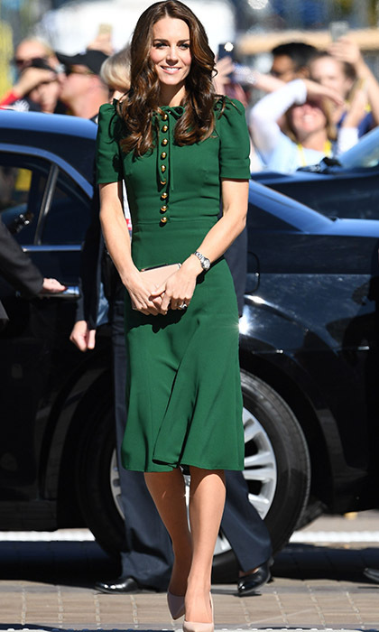 To tour the Okanagan Campus of the University of British Columbia, Kate wore a bespoke emerald green dress by Dolce & Gabbana. She finished off her look with a nude clutch bag, heels from L.K. Bennett, and a gold Cartier watch and styled her glossy locks in her signature bouncy blow dry.