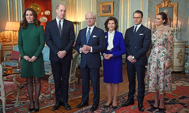 The Duchess was a vision in a green high-neck Catherine Walker dress for a luncheon at the Royal Palace of Stockholm. Kate accessorized with simple black heels, a neutral makeup look and kept her hair in beautiful loose waves. The couple dined with the Swedish Royal Family - King Carl XVI Gustaf, Queen Silvia, Prince Daniel and Crown Princess Victoria.