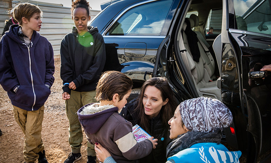 Angelina Jolie brought her children 11-year-old Shiloh and Zahara, 13, for a visit to Zataari refugee camp in Jordan on Jan. 28. The actress and activist said her kids asked to come along to visit Syrian refugees in the camp, who've been displaced by the country's on-going civil war which began almost seven years ago.