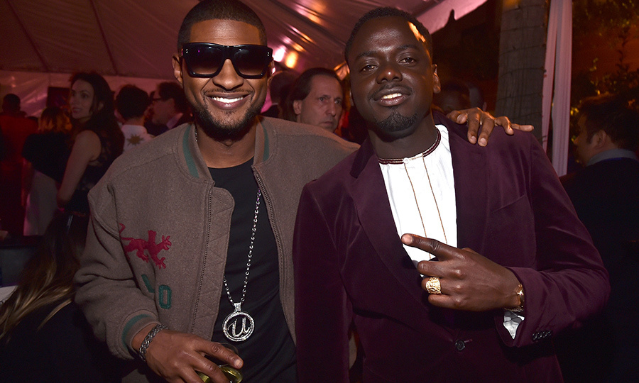Musician Usher and <em>Get Out</em> actor Daniel Kaluuya were all smiles at the <em>Black Panther</em> after party.