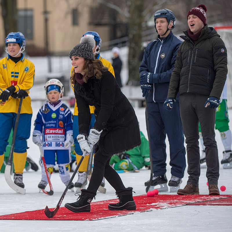 "The Duke and Duchess of Cambridge tried their hands at a spot of ""bandy"" hockey while on a royal tour of Sweden and Norway in 2018. The competitive couple gave it their best but William ended up beating his pregnant wife two goals to one.