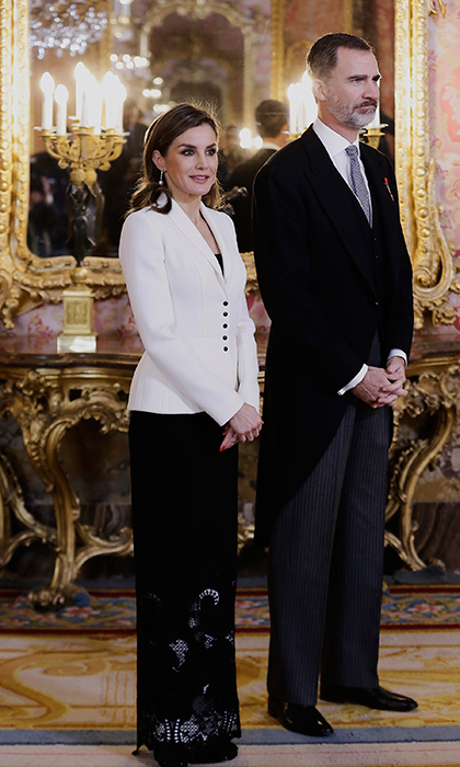 King Felipe VI of Spain and Queen Letizia of Spain attended the Foreign Ambassadors Reception at The Royal Palace of Madrid on Jan. 31. The Queen stunned in a long skirt and white blazer.