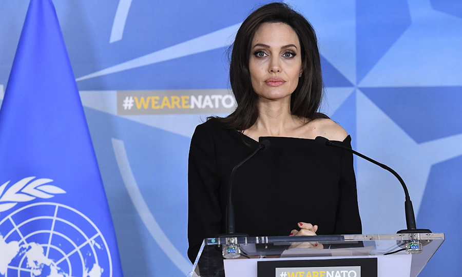 Angeline Jolie, Special Envoy for the United Nations High Commissioner for Refugees, spoke at a press conference on Jan. 31 at the NATO Headquarters in Brussels after a meeting with the NATO Secretary General.