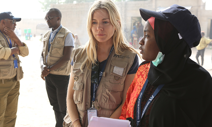 Sienna Miller met with survivors of the Boko Haram insurgency in a displacement camp in northeast Nigeria's hard-hit Borno State on Jan. 29. The actress is the International Medical Corps Global Ambassador.